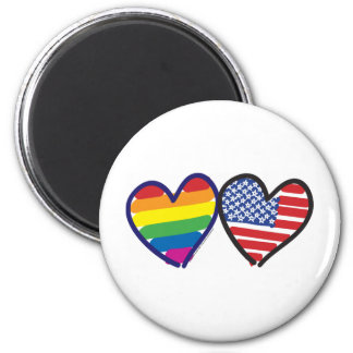Gay Pride USA 2 Inch Round Magnet