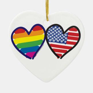 Gay Pride USA Ceramic Ornament
