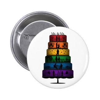 Gay Pride Wedding Cake Pinback Button