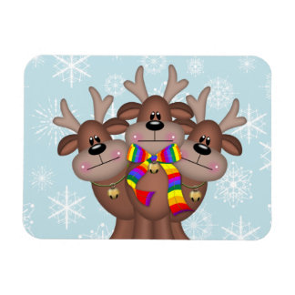 Gay Pride Whimsical Christmas Reindeer Magnet