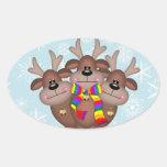 Gay Pride Whimsical Christmas Reindeer Oval Sticker