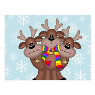 Gay Pride Whimsical Christmas Reindeer Postcard