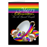 Gay Pride Whimsical Christmas Teacup Mice Greeting Card