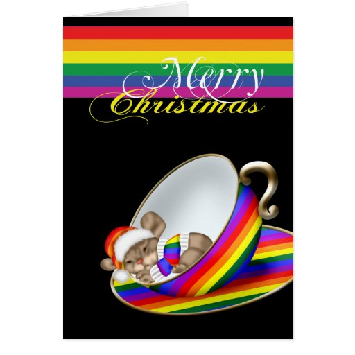 Gay Pride Whimsical Christmas Teacup Mouse Card