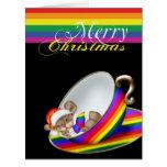 Gay Pride Whimsical Christmas Teacup Mouse Card