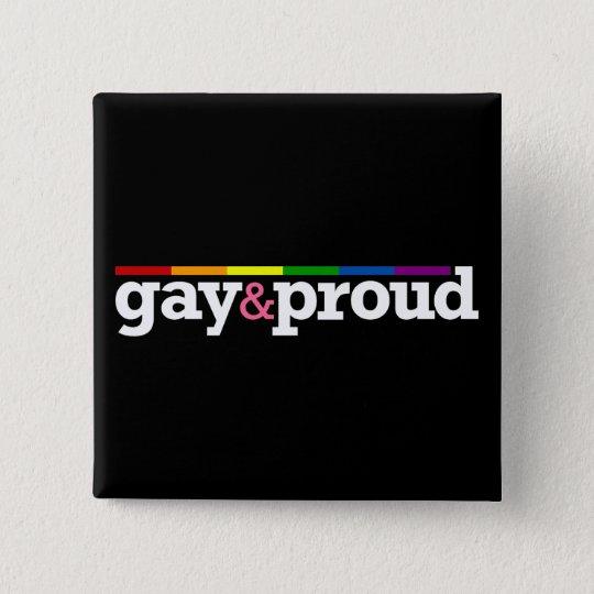 Gay&proud Black Button