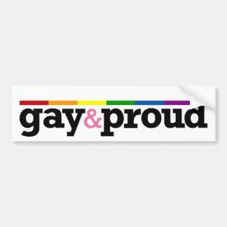 Gay&proud White Bumper Sticker Car Bumper Sticker