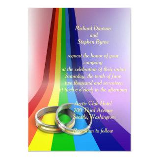 Beautiful Gay Rainbow And Rings Wedding Invitation