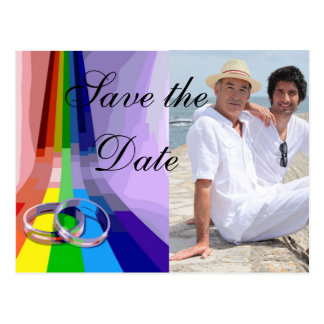 Gay Rainbow and Rings Wedding Save the Date Postcard