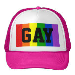 Gay Rainbow Flag Ball Cap - Pink Trucker Hat