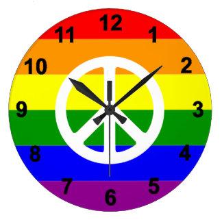 Gay Rainbow flag Peace sign Clock