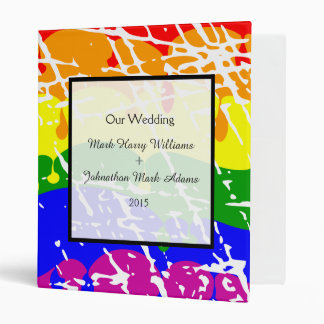 Gay Rainbow Freedom Flag Fun Wedding Keepsake Binder
