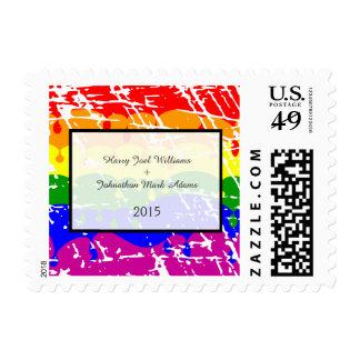 Gay Rainbow Freedom Flag Fun Wedding Pattern Postage