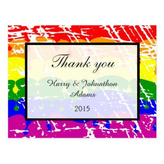 Gay Rainbow Freedom Flag Fun Wedding Thank you Postcard