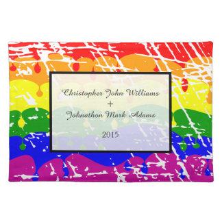 Gay Rainbow Freedom Flag Wedding Keepsake Cloth Placemat