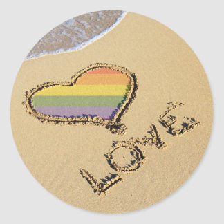 Gay Rainbow Love Heart In The Sand Classic Round Sticker