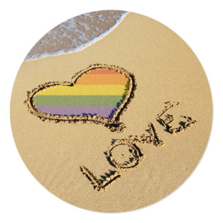 Gay Rainbow Love Heart In The Sand Invitation