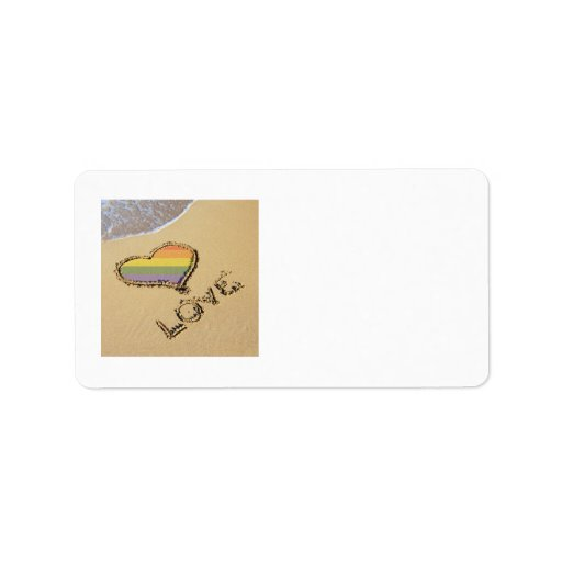 Gay Rainbow Love Heart In The Sand Personalized Address Label