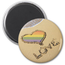 Gay Rainbow Love Heart In The Sand Magnet