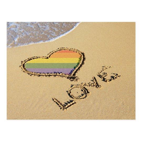 Gay Rainbow Love Heart In The Sand Postcard