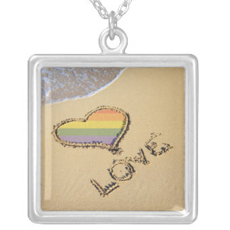 Gay Rainbow Love Heart In The Sand Square Pendant Necklace