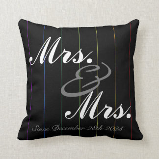 Gay Rainbow Pinstriped Custom Anniversary Pillow