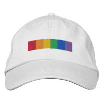 Gay Rainbow Pride Flag Strip Embroidered Baseball Cap