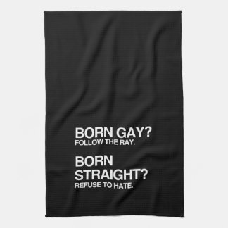 GAY RAY STRAIGHT HATE HAND TOWELS