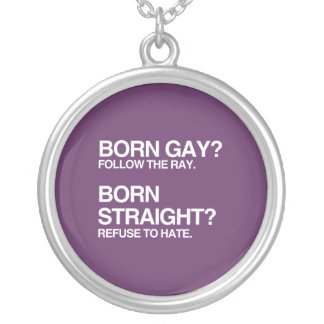 GAY RAY STRAIGHT HATE ROUND PENDANT NECKLACE