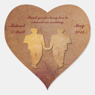 Gay Red Rustic Wedding Heart Sticker