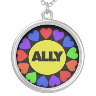 Gay Rights Ally Round Pendant Necklace