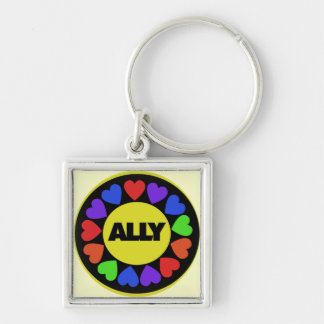 Gay Rights Ally Silver-Colored Square Keychain