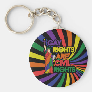 Gay rights are civil rights basic round button keychain