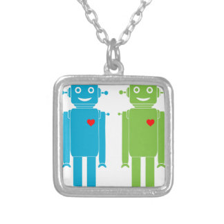 Gay Robots Silver Plated Necklace