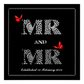 Gay Same Gender Wedding Gift Lace Word Art Posters