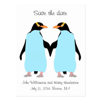 Gay Save the date, blue penguins Postcard