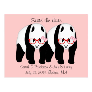 Gay Save the date, Two male pandas Postcard