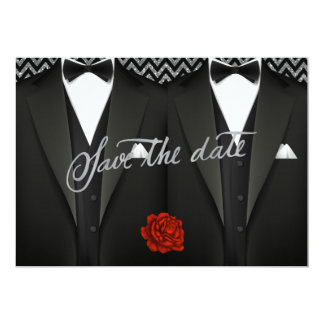 Gay Save the Date with Tuxedo Card