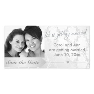 Gay Silver Damask Wedding Photo Save the Date Card