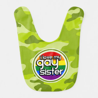 Gay Sister; bright green camo, camouflage Baby Bib