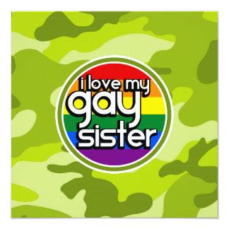 Gay Sister; bright green camo, camouflage 5.25x5.25 Square Paper Invitation Card
