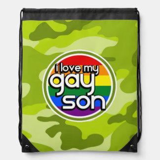 Gay Son; bright green camo, camouflage Drawstring Bag