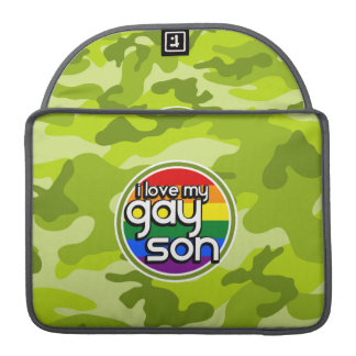Gay Son; bright green camo, camouflage MacBook Pro Sleeve