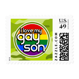Gay Son; bright green camo, camouflage Postage Stamps