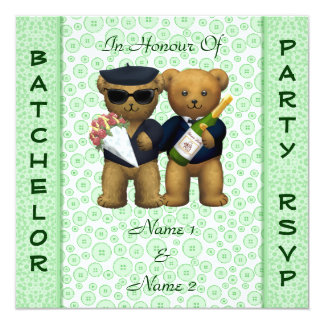 Gay Stag Party Apple Green Teddy Bears invitation
