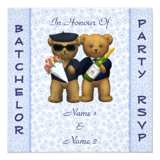 Gay Stag Party - Blue Teddy Bears invitation
