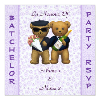 Gay Stag Party - Lilac Teddy Bears invitation