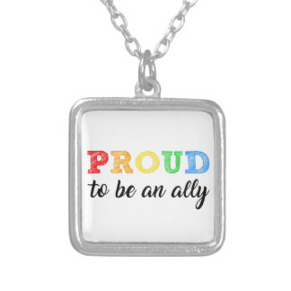 Gay Straight Alliance Ally Silver Plated Necklace