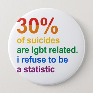 Gay Suicide - I refuse to be a statistic Button