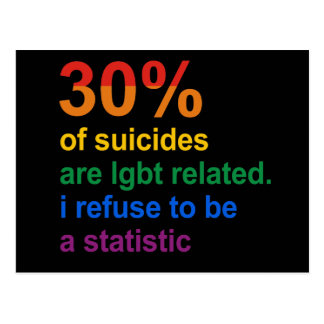 Gay Suicide - I refuse to be a statistic Postcard